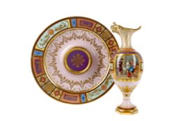 A LATE 19TH CENTURY VIENNA PORCELAIN EWER AND STAND