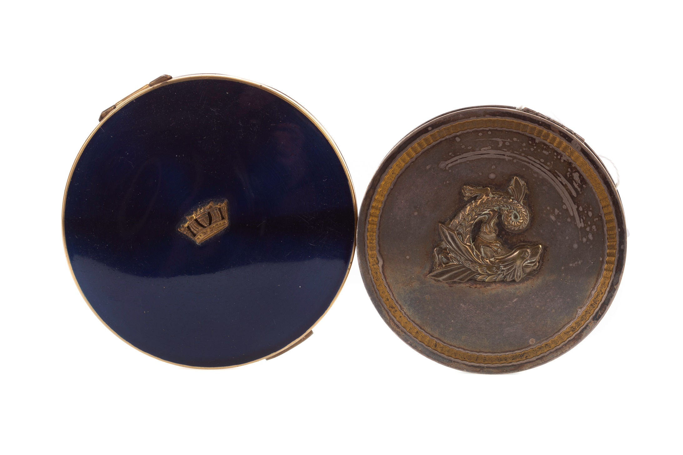 TWO EARLY 20TH CENTURY WHITE METAL COMPACTS