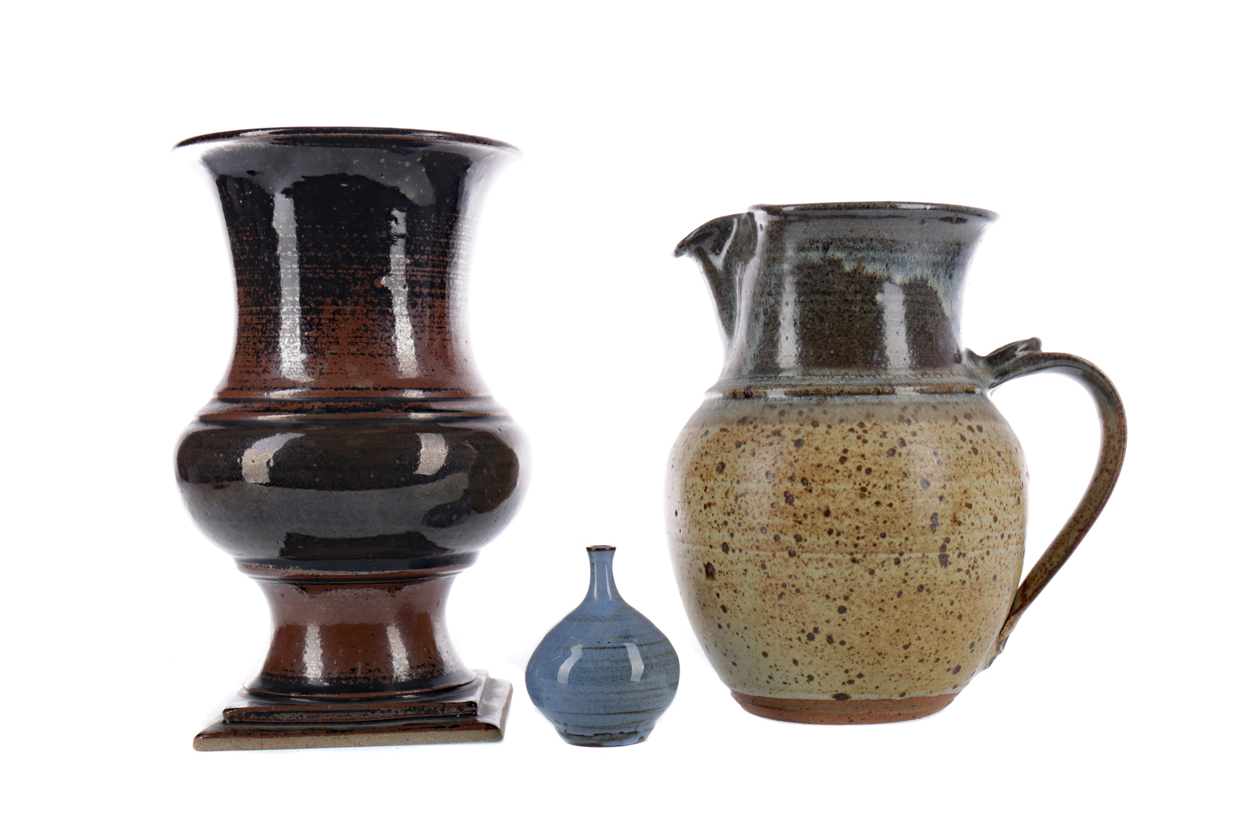 A JANET ADAM STUDIO POTTERY STONEWARE VASE, ALONG WITH TWO OTHER VASES AND A JUG