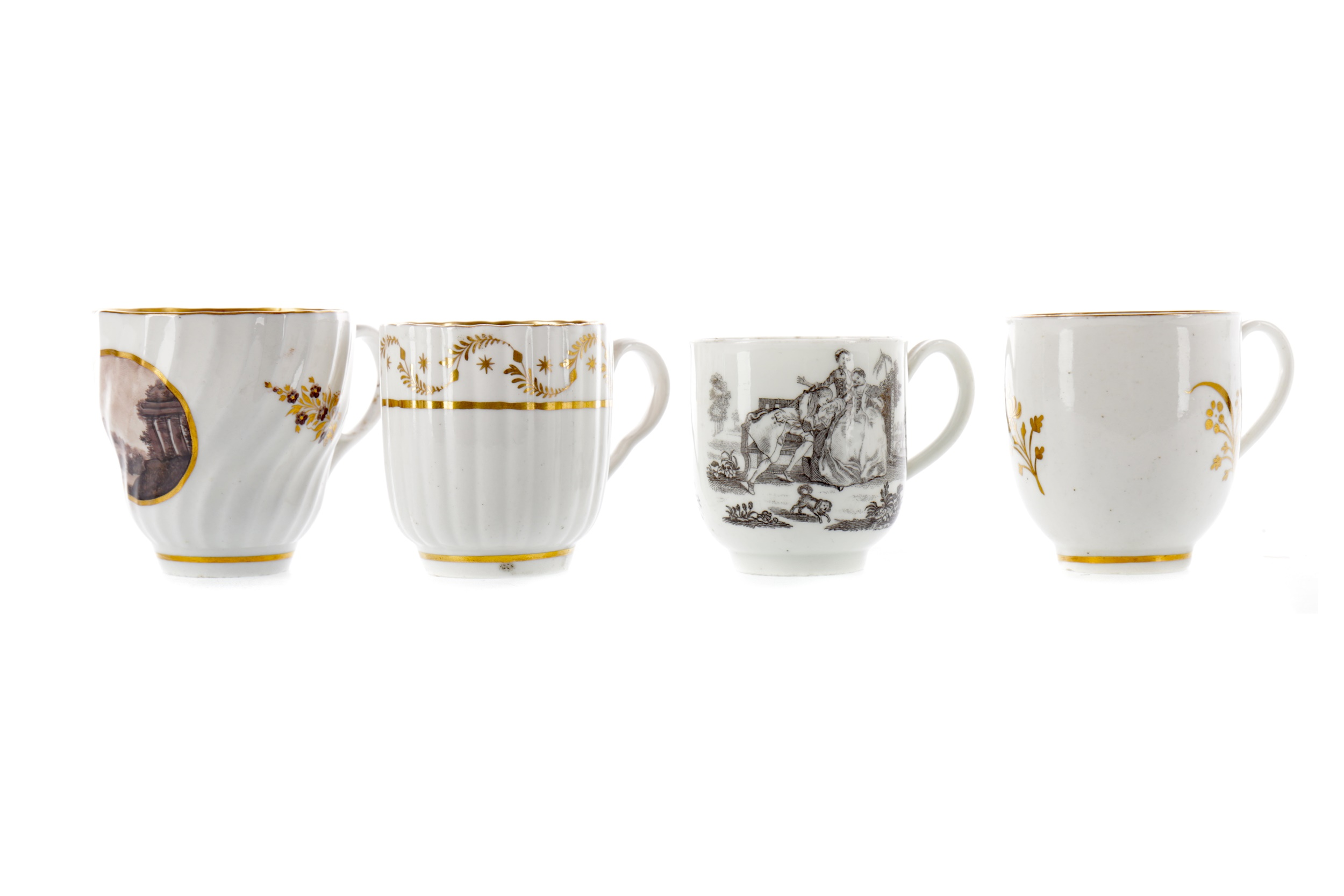 A LATE 18TH CENTURY TEACUP, ALONG WITH THREE OTHERS