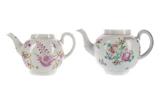 TWO LATE 18TH CENTURY ENGLISH PORCELAIN TEAPOTS