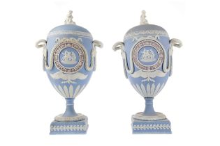A PAIR OF EARLY 19TH CENTURY WEDGWOOD JASPERWARE PEDESTAL VASES AND COVERS