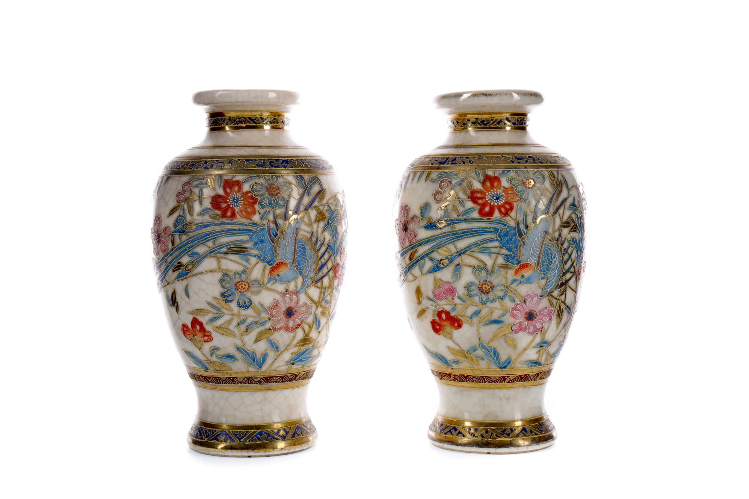 A CHINESE CRACKLE GLAZE PORCELAIN GINGER JAR AND COVER, ALONG WITH A PAIR OF SATSUMA VASES