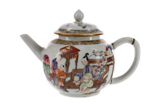 A 19TH CENTURY CHINESE FAMILLE ROSE TEAPOT AND COVER