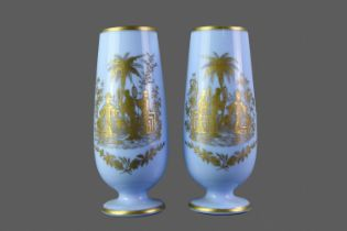 A PAIR OF EARLY 20TH CENTURY OPAQUE GLASS VASES