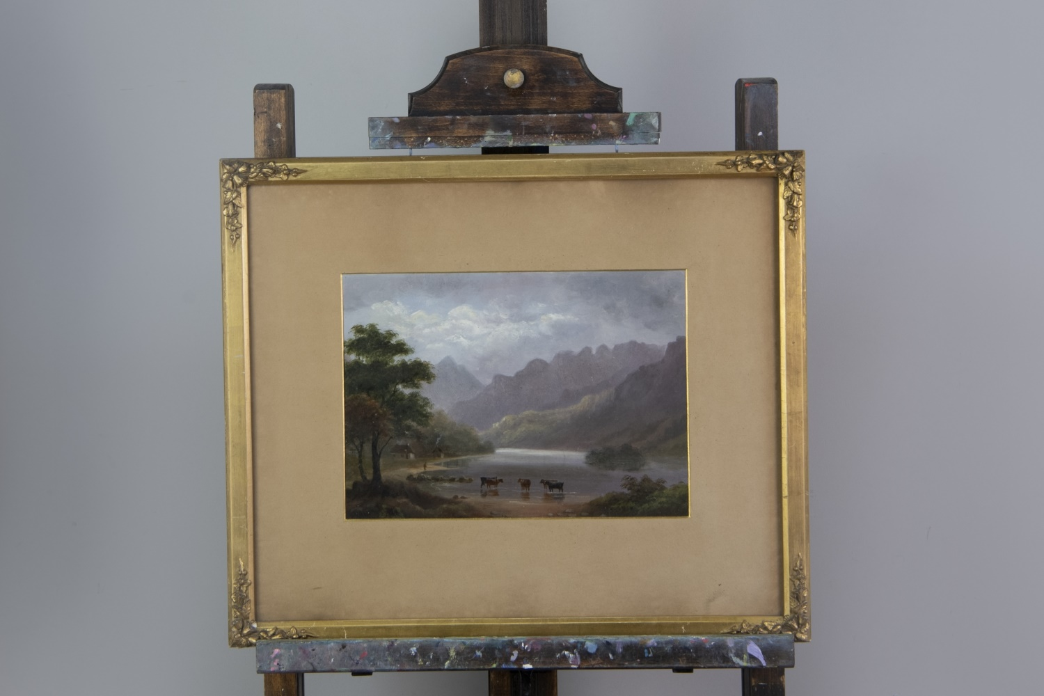 AN OIL PAINTING OF A WATERFALL AND THREE OTHERS