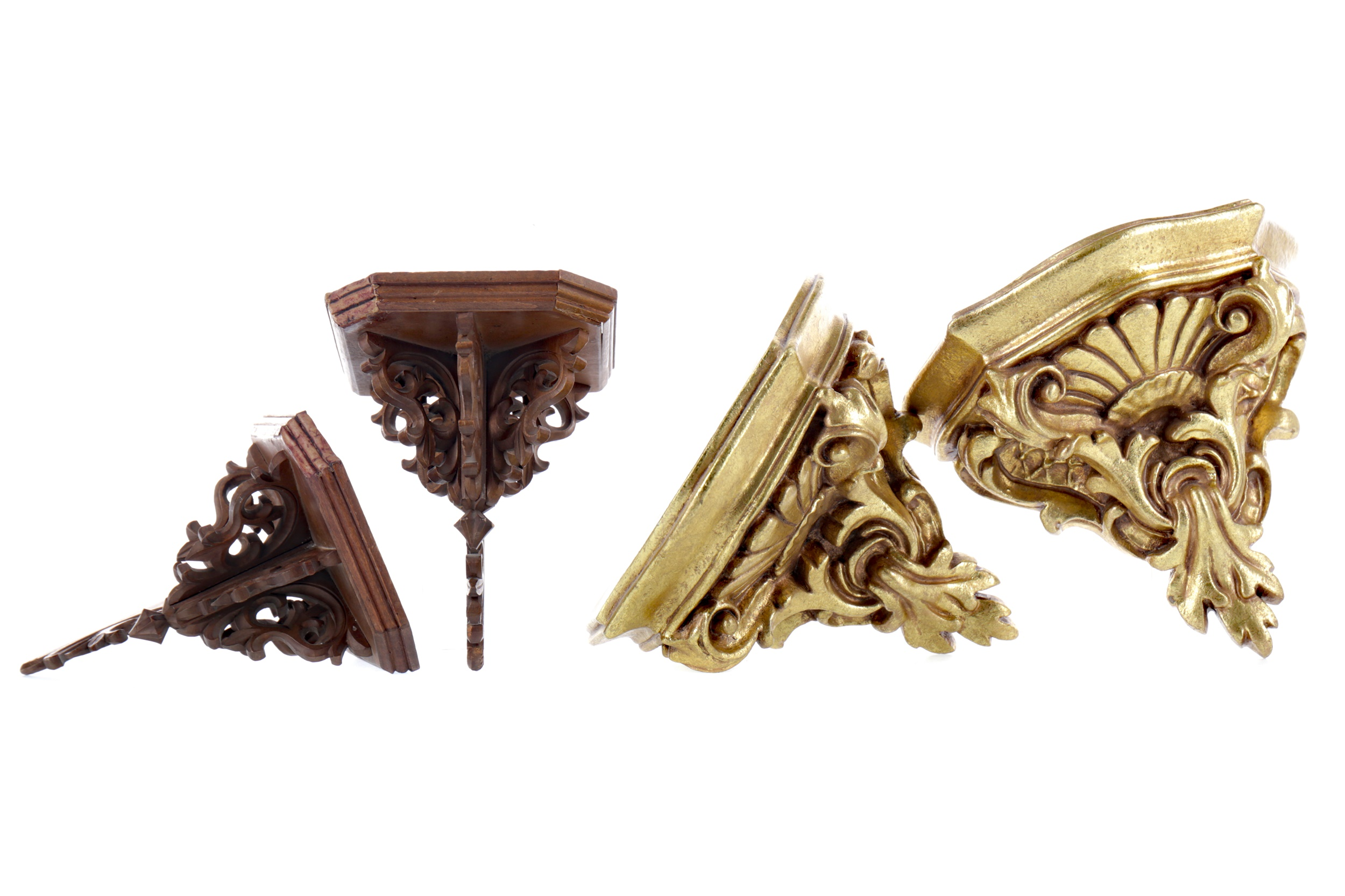 A PAIR OF ROCOCO STYLE GILDED RESIN WALL BRACKETS, ALONG WITH ANOTHER PAIR