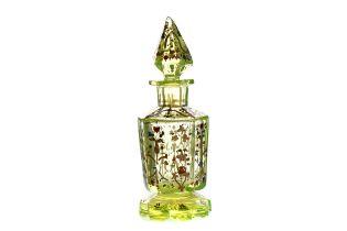 A LATE 19TH CENTURY BOHEMIAN URANIUM GLASS SCENT BOTTLE