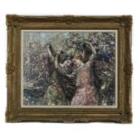GALLOWAY MAIDS AT PLAY, AN OIL BY EDWARD ATKINSON HORNEL