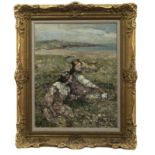 HAPPY HOWLS, AN OIL BY EDWARD ATKINSON HORNEL