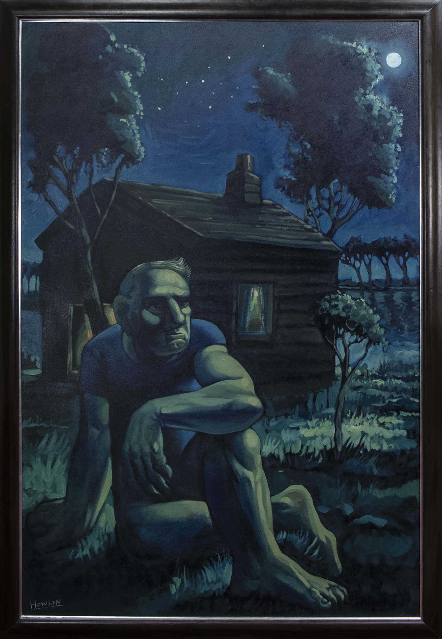 THE NIGHT CABIN, A LARGE OIL BY PETER HOWSON