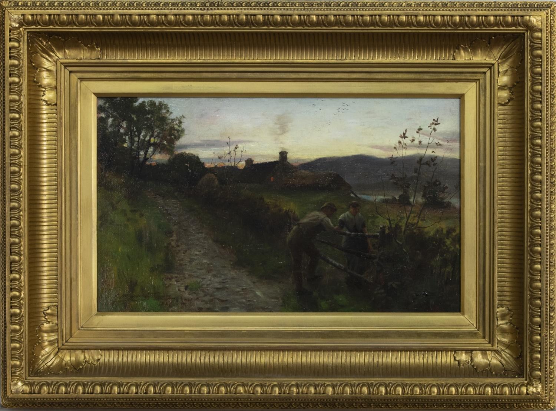 HARVEST SUNSET, 1883, AN OIL BY ROBERT MACAULAY STEVENSON