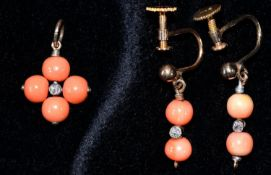 A PAIR OF CORAL BEAD AND DIAMOND PENDANT EARRINGS AND A SIMILAR PENDANT, MOUNTED IN GOLD,