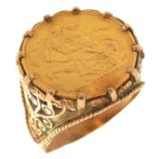 GOLD COIN. SOVEREIGN 1892S, SET IN A 9CT GOLD RING, 15.7G Hoop of ring damaged