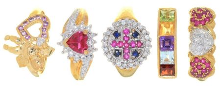 FIVE RINGS, VARIOUSLY GEM SET IN GOLD, 16.5G, SIZE P Good condition