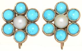 A PAIR OF CULTURED PEARL AND TURQUOISE EARRINGS, C EARLY 20TH C, IN GOLD, 11MM, SCREW FITTING MARKED