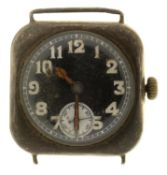 A SWISS SILVER CUSHION SHAPED GENTLEMAN'S WRISTWATCH, WITH BLACK DIAL AND LUMINESCENT HANDS, 15