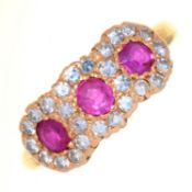 A RUBY AND DIAMOND TRIPLE CLUSTER RING, IN 18CT GOLD, LONDON 1975, 5.1G, SIZE N½ Good condition,