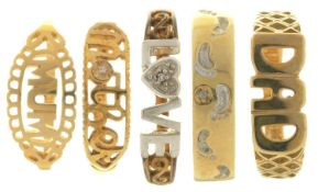 FIVE GOLD RINGS,10.7g, SIZES M, N, P Good condition