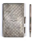 A VICTORIAN SILVER AND LEATHER BOOK FORM AIDE MEMOIR, THE BOARDS TARTAN ENGRAVED, 80MM, BY NATHANIEL