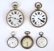 TWO SILVER CYLINDER WATCHES, LATE 19TH C AND THREE VARIOUS OTHER WATCHES One of the small silver