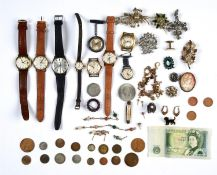 MISCELLANEOUS VINTAGE AND MODERN COSTUME JEWELLERY, WRISTWATCHES, COINS, ETC Mostly in good
