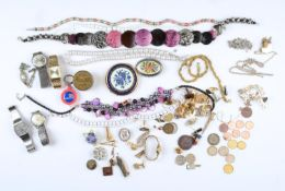 MISCELLANEOUS VINTAGE AND MODERN COSTUME JEWELLERY AND WRISTWATCHES