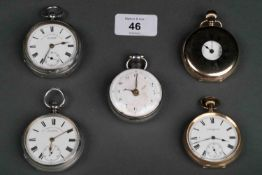 A SILVER VERGE WATCH, THOS. SALTBY GRANTHAM, WITH ENAMEL DIAL AND FLAT CENTRED GLASS, CASEMAKER