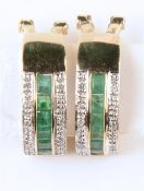 A PAIR OF EMERALD AND DIAMOND EAR CLIPS IN 9CT GOLD, 18MM, 4.2G Good condition