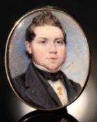 ENGLISH SCHOOL, EARLY 19TH C, A GENTLEMAN IN BLACK STOCK AND COAT WITH GOLD SEAHORSE PIN, SKY