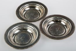 A SET OF THREE NORWEGIAN SILVER DISHES, EARLY 20TH C, EMBOSSED WITH THE B.D.S. LINE M/Y STELLA