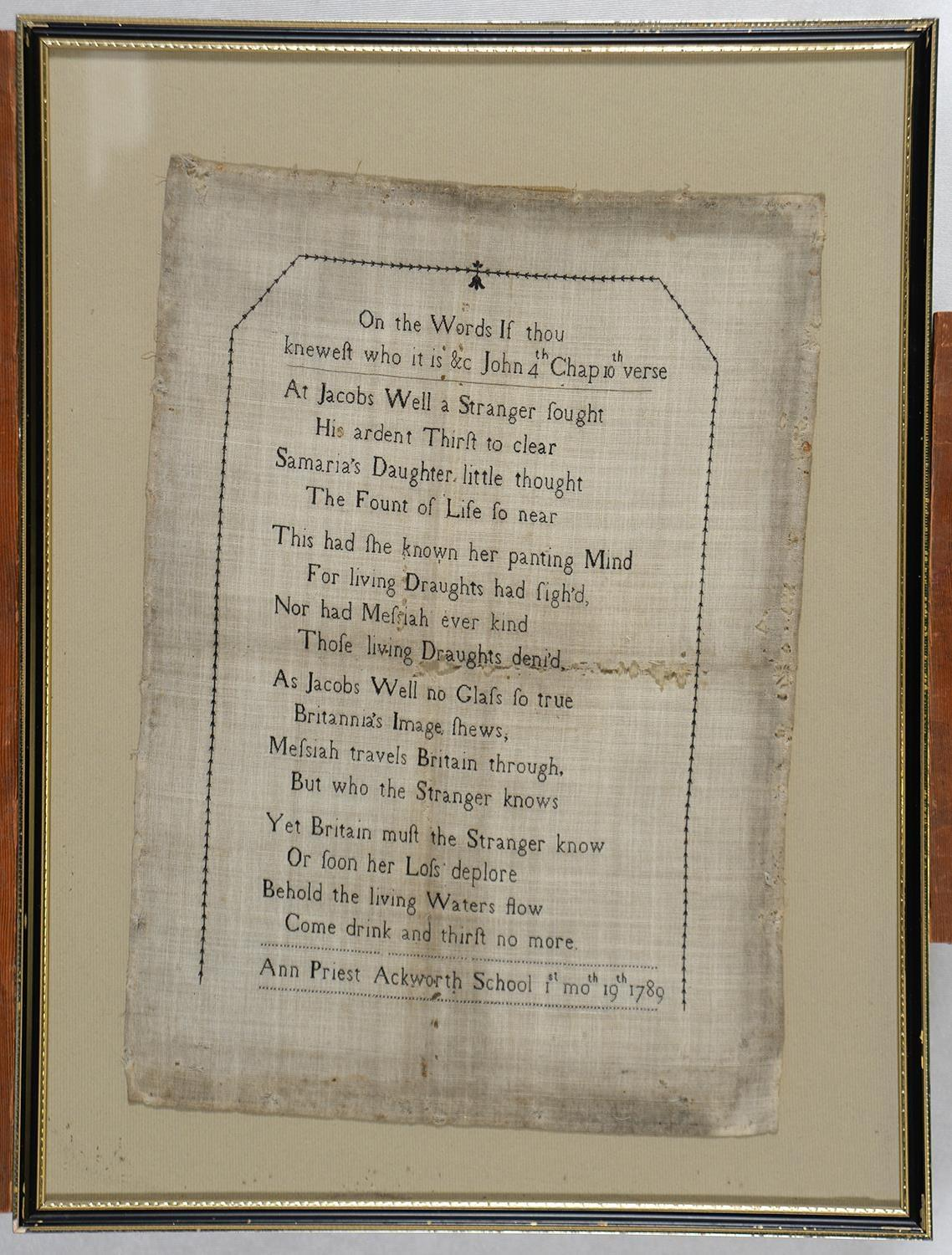 AN EARLY ACKWORTH SCHOOL QUAKER SAMPLER ANN PRIEST 1ST MO.TH 19TH, 1789,WORKED IN BLACK WITH ON - Image 2 of 3