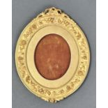 A VICTORIAN OVAL GILTWOOD AND COMPOSITION MINIATURE FRAME, LATE 19TH C, 25CM H Re-gilt, restored