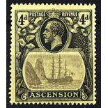 "ASCENSION 1924-33 4d grey black & black with ""broken mainmast"" variety. Fine mint. SG 15a £500"