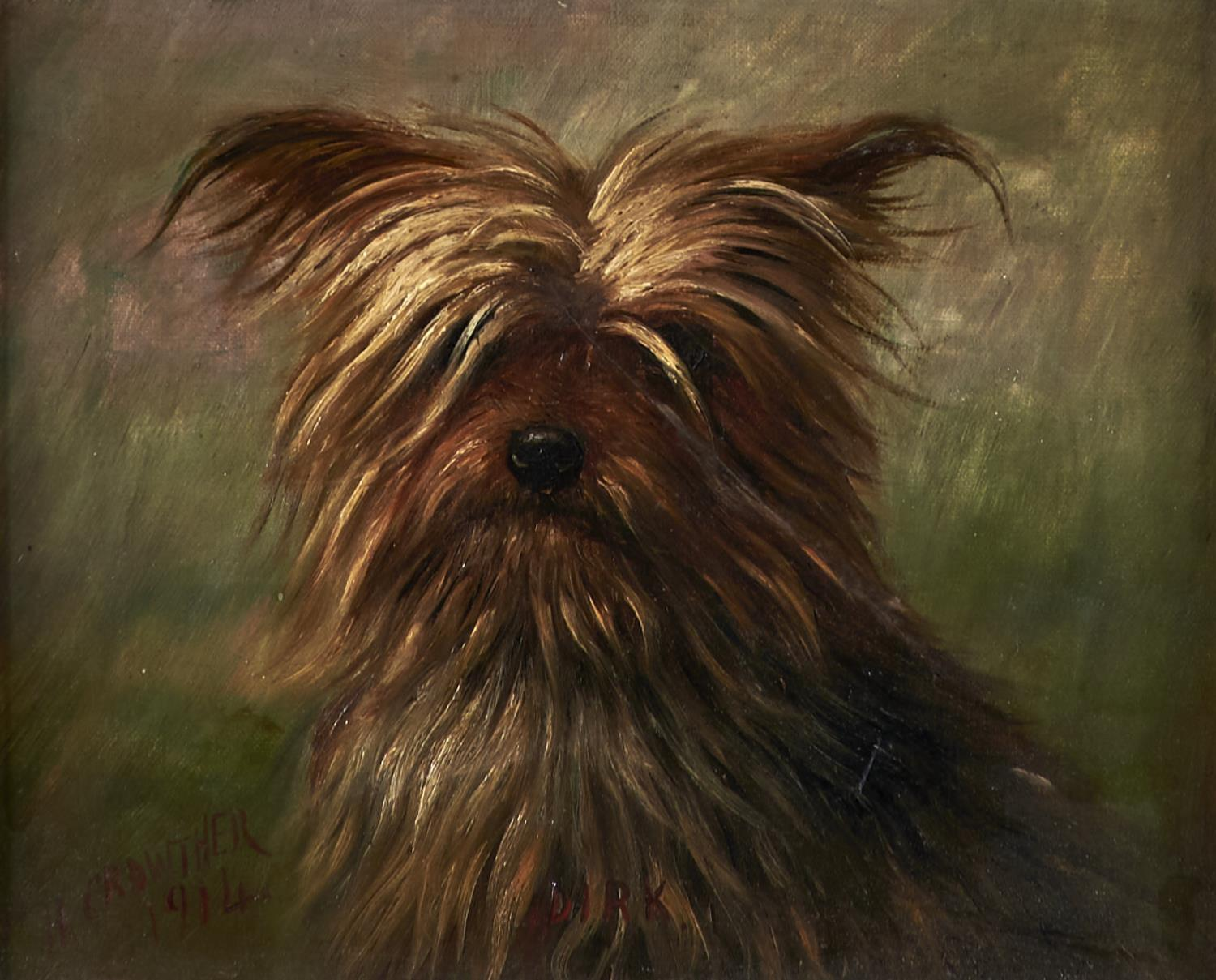 """HENRY CROWTHER, FL 1875-1933 - """"DIRK"""", A YORKSHIRE TERRIER, SIGNED, DATED 1914 AND INSCRIBED (IN"""
