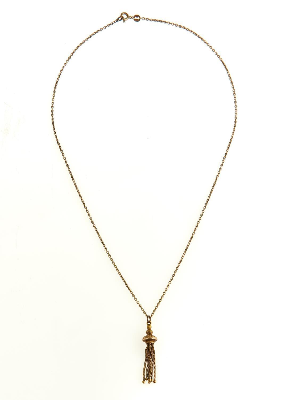 A GOLD NECKLET, 51.5 CM L, MARKED 9K, 7.7G INC GOLD PLATED TASSEL LIGHT WEAR