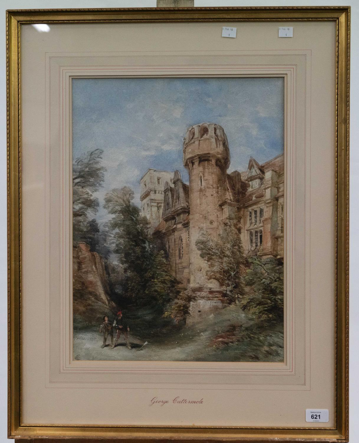 GEORGE CATTERMOLE, RWS (1800-1868) - ARCHER BEFORE A FORTIFIED MANOR HOUSE, SIGNED WITH INITIALS, - Image 2 of 3
