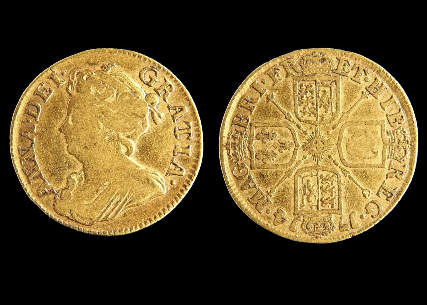 GOLD COIN. GUINEA 1714, FINE POSSIBLE VERY LIGHT TRACES OF EDGE MOUNT