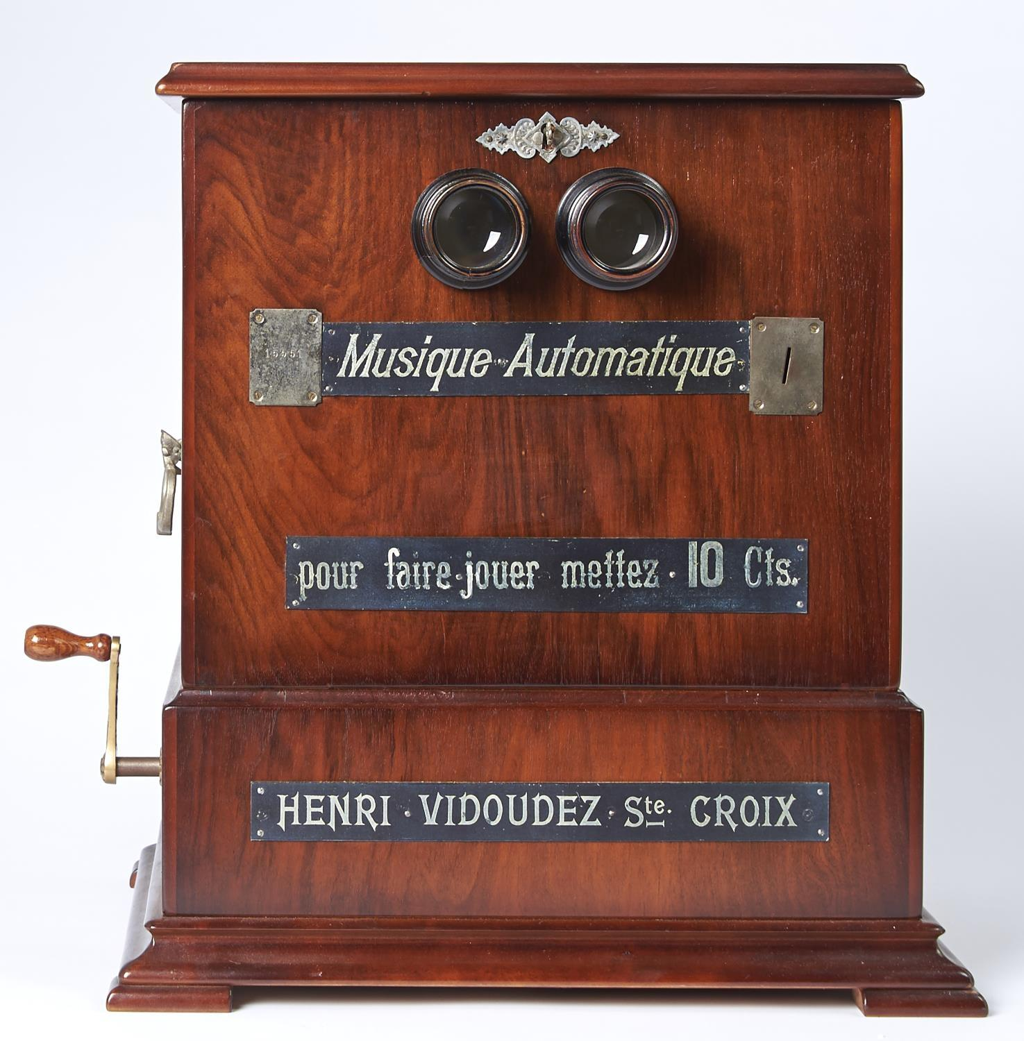 A FINE AND RARE SWISS COIN-IN-THE-SLOT MUSICAL STEREOSCOPE, HENRI VIDOUDEZ, C1885, THE MECHANISM - Image 2 of 5