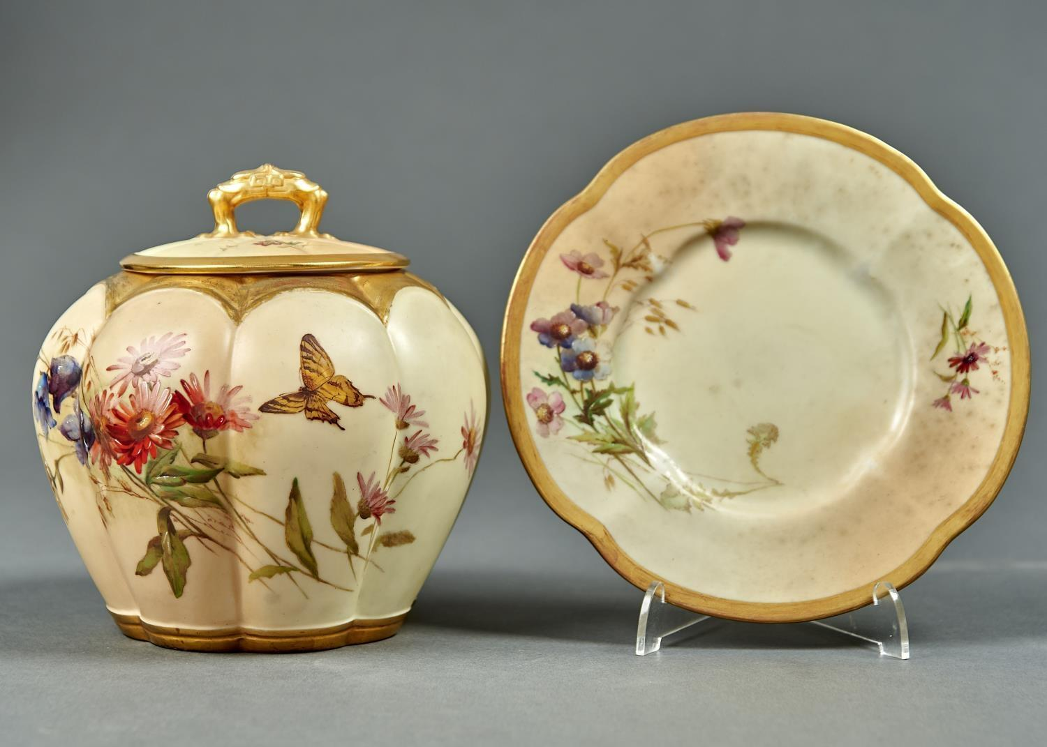 A ROYAL WORCESTER LOBED OVOID MELON JAR, COVER AND STAND, 1900, PRINTED AND PAINTED WITH A - Image 2 of 2