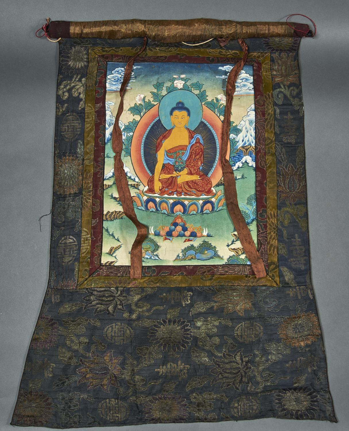 THANKA, EARLY 20TH C, THE CHINESE DARK BLUE GROUND WOVEN SILK SURROUND WITH SHOU CHARACTERS AND