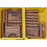ANTIQUE GARDEN ORNAMENTS. A SET OF VICTORIAN SALT GLAZED BROWN STONEWARE ROPE PATTERN 9 INCH