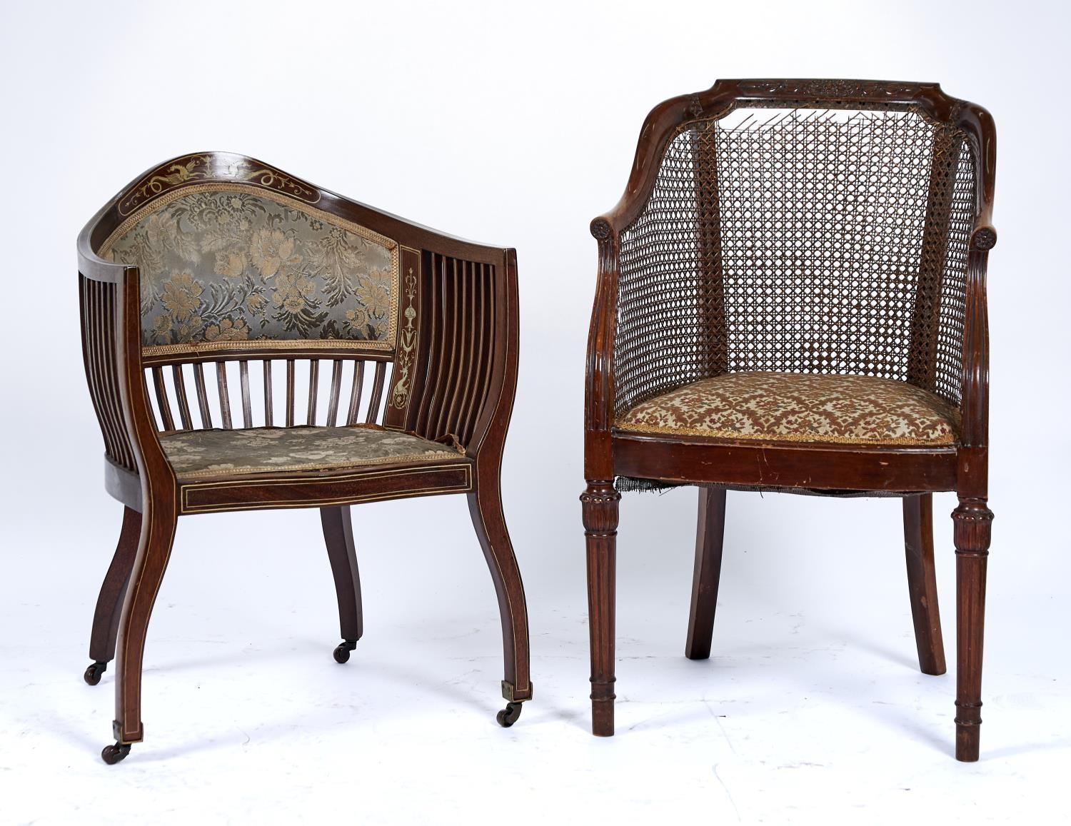 A LATE VICTORIAN SALON TUB CHAIR, C1895, INLAID OVERALL WITH IVORY STRINGING, THE BACK WITH PANEL