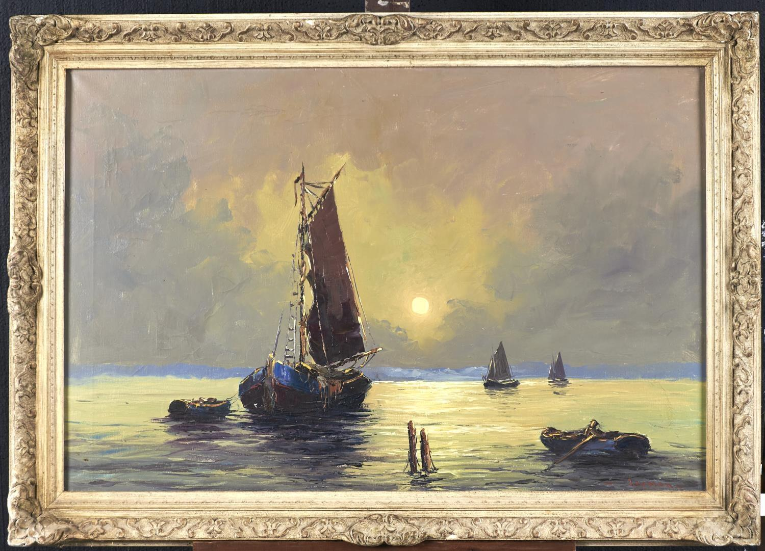BRITISH SCHOOL, LATE 20TH C - THE FISHING FLEET AT SUNSET, INDISTINCTLY SIGNED (IN RED), OIL ON
