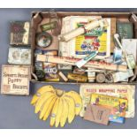 VINTAGE ADVERTISING. A QUANTITY OF SHOWCARDS, PRINTED PAPER BAGS, TINS, BOTTLES AND CARDBOARD BOXES,