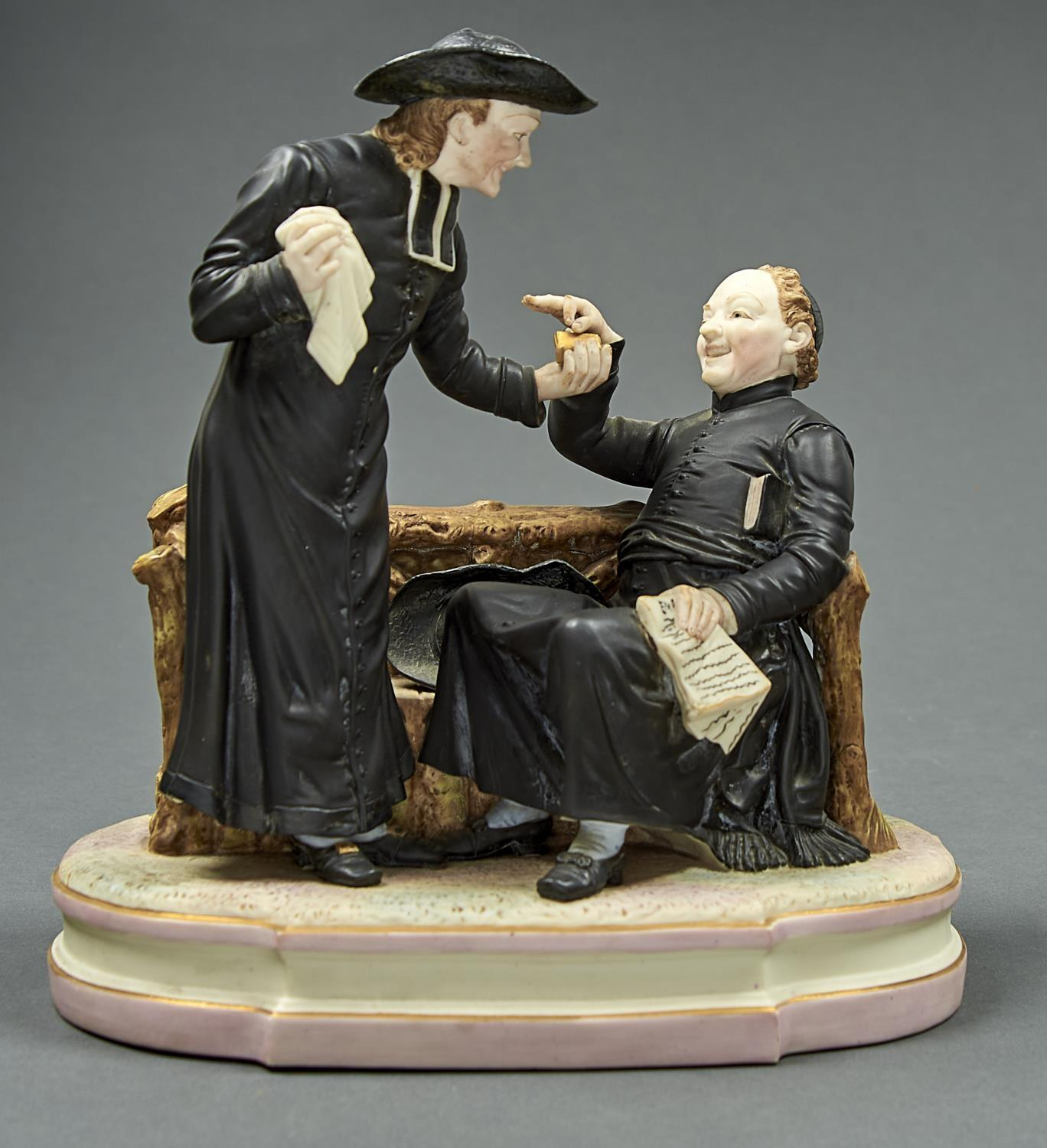AN AMUSING VICTORIAN COLOURED PARIAN WARE GROUP OF PRIESTS, C1880, 31CM HComparative literature: