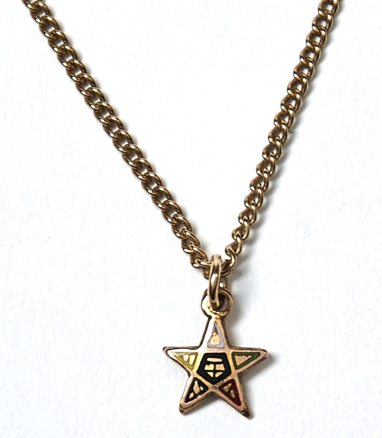 A GOLD NECKLET AND 9CT GOLD STAR CHARM, 54.5CM L, NECKLET MARKED 9K,  4.5G GOOD CONDITION