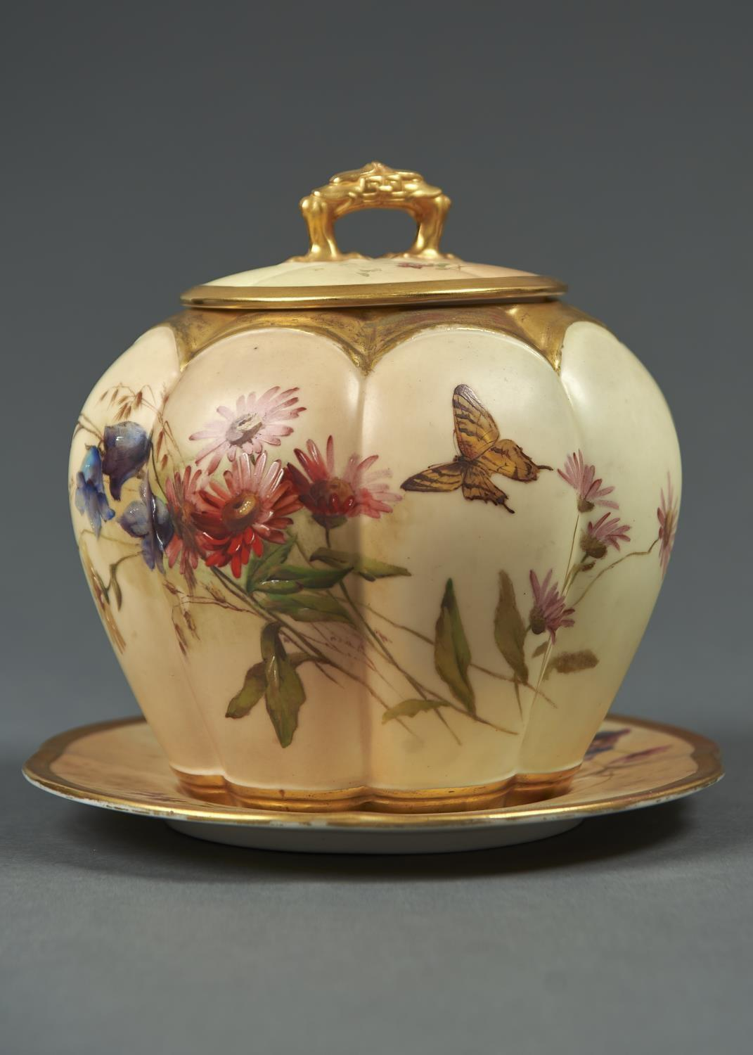 A ROYAL WORCESTER LOBED OVOID MELON JAR, COVER AND STAND, 1900, PRINTED AND PAINTED WITH A