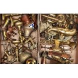 MISCELLANEOUS BRASS AND COPPER WARE, INCLUDING PAIRS OF VICTORIAN EJECTOR CANDLESTICKS, BANKS,