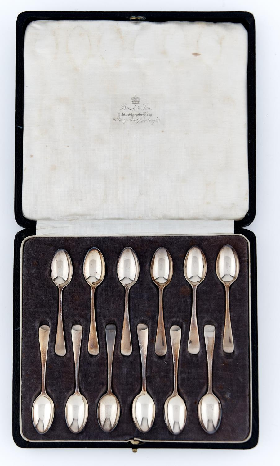 A SET OF TWELVE GEORGE V SILVER COFFEE SPOONS, OLD ENGLISH PATTERN, BY JOSIAH WILLIAMS & CO,